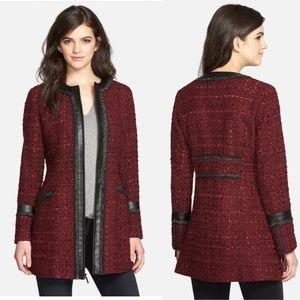 LAUNDRY BY SHELLI SEGAL Burgundy Wool Pea Coat